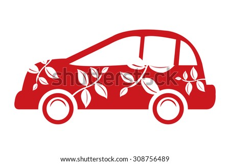 Red Eco Car Infographics Flat Icon, Sign Isolated on White Background - stock photo