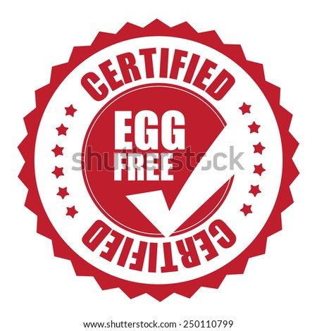 red egg free certified icon, tag, label, badge, sign, sticker isolated on white  - stock photo