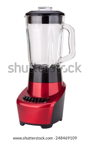 Red Electric Blender Angled isolated on white with a clipping path. - stock photo
