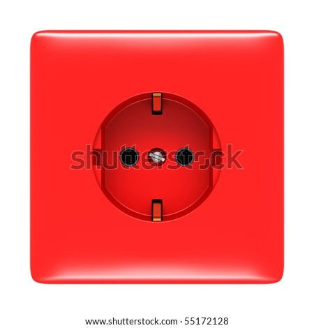 red electric outlet isolated on white - stock photo