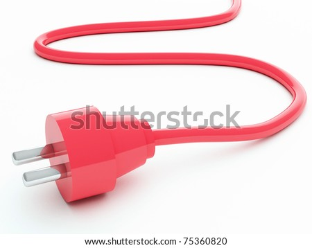 Red electric plug - stock photo