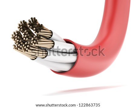 Red Electrical Cable isolated on a white background - stock photo