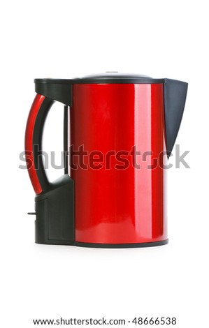 Red electrical kettle isolated on white - stock photo