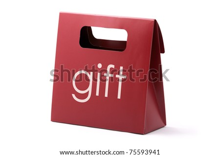 Red elegance carton bag with GIFT word isolated on a white background.