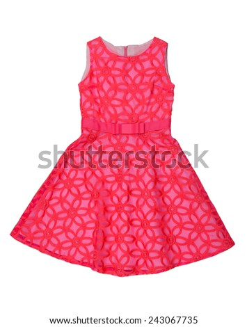 Red elegant baby dress isolated on white background - stock photo