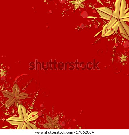 Red elegant chrsitmas background design with golden stars and snowflake - stock photo
