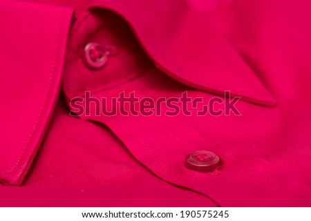 Red Elegant Men Shirt Close Up - stock photo