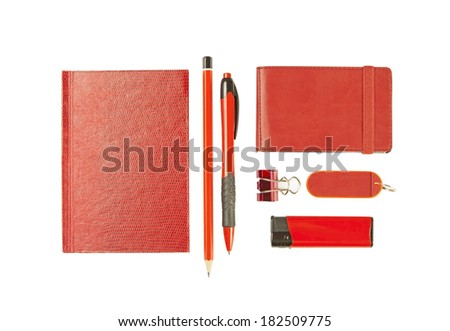 Red elements of corporate identity, set of office stationery, isolated on white background