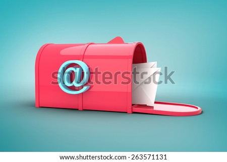 Red email postbox against blue vignette background - stock photo