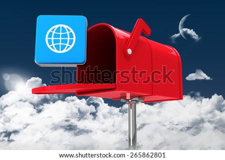 Red email postbox against night sky - stock photo