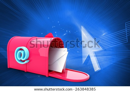 Red email postbox against shiny arrow on blue background - stock photo