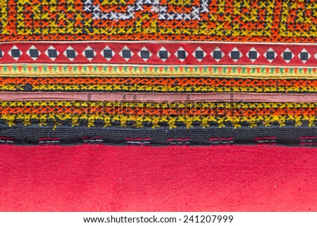 red Embroidered cotton background