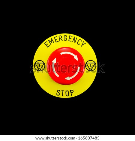 Red emergency button switch isolated on black background - stock photo
