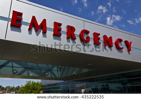 Red Emergency Entrance Sign for a Local Hospital III - stock photo