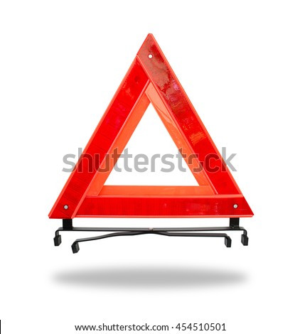 Red emergency triangle on a white clipping path.