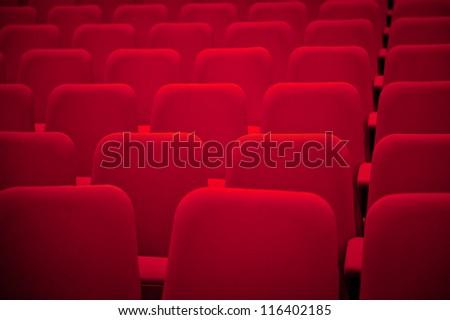 Red Empty Auditorium Seats - stock photo