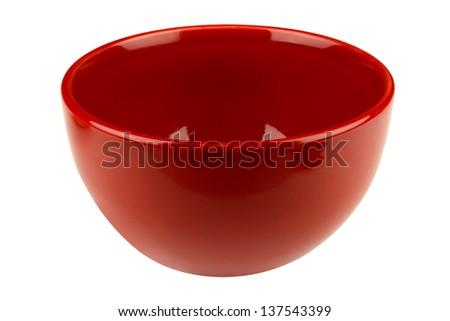 Red empty bowl isolated on white background - stock photo