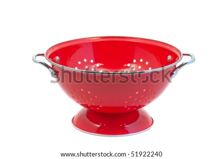 Red empty colander isolated over white background
