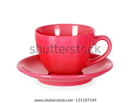 Red empty cup Isolated on a white background.