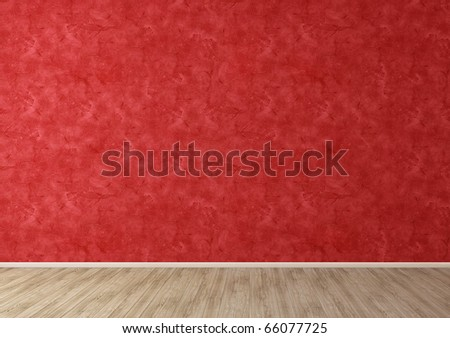Red empty room interior with Venetian Stucco wall and wooden floor - stock photo