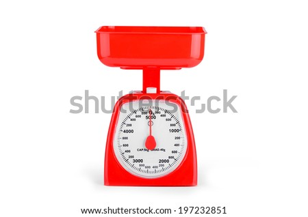 Red empty scales close up on white background