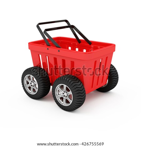 Red Empty Shopping Basket on Wheels isolated on white background. 3D Rendering - stock photo