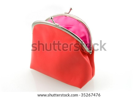 Red empty wallet isolated on white background - stock photo