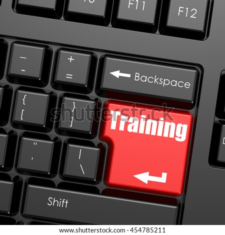 Red enter button on computer keyboard, training word. Business concept, 3D rendering - stock photo