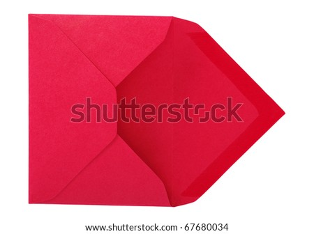Red envelope isolated on the white surface. - stock photo