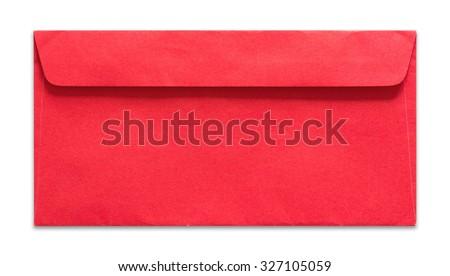 red envelope isolated on white background - stock photo