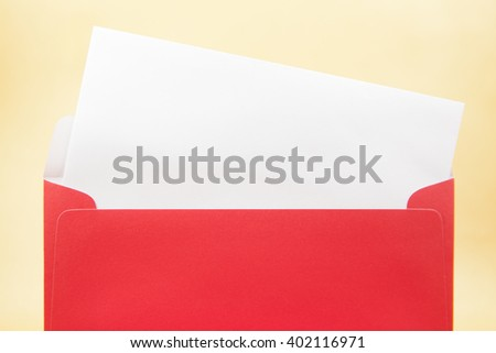 Red envelope on a yellow background