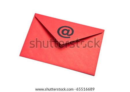 Red Envelope with at Symbol, concept of E-Mail - stock photo