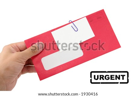 red envelope with blank business card, and urgent stamp