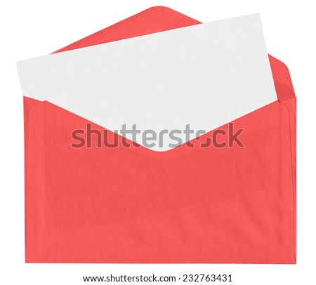 Red envelope with blank letter isolated on white background