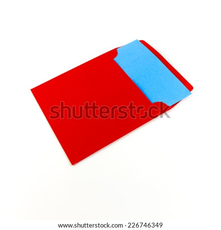 red envelope with blue note on a white background