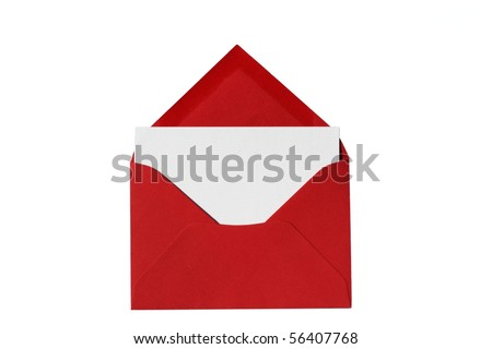 Red envelope with notecard blank for your copy - stock photo