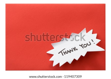 """Red envelope with """"Thank You!"""" note - stock photo"""