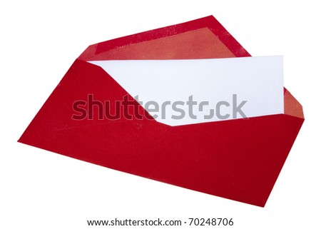 Red envelope with white paper inside isolated on a white background. - stock photo