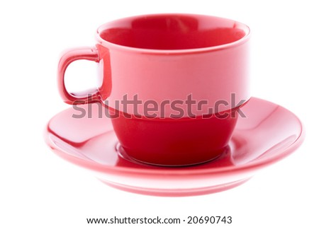 Red Espresso Cup and Plate - stock photo