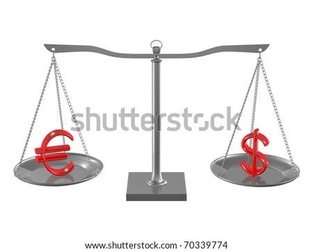 Red Euro and Dollar on Silver balance on white isolated background - stock photo