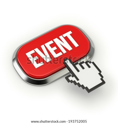 Red event button with metallic border on white background