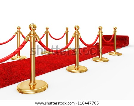 red event carpet isolated on a white background - stock photo