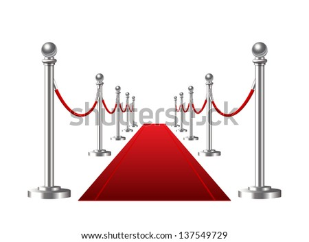 Red event carpet isolated on a white background.