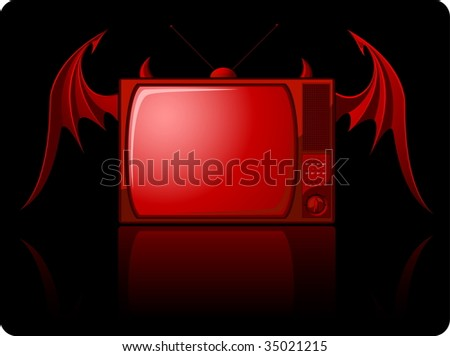 Red evil retro TV with wings isolated on black - raster image. Vector format in EPS is also available in my gallery. - stock photo