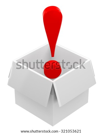 Red exclamation mark in box - stock photo