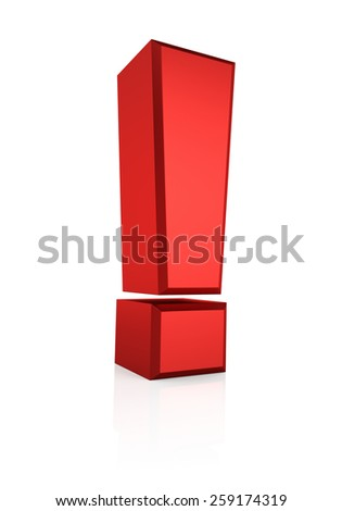 Red exclamation mark isolated on white background. 3d render - stock photo