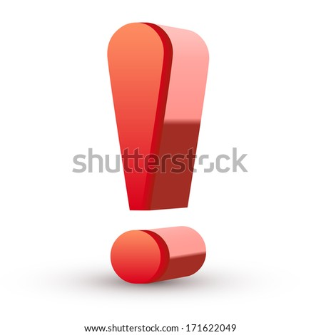 Red exclamation mark isolated white background - stock photo