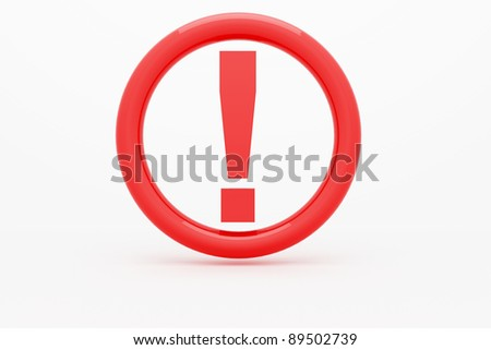 Red exclamation mark on white background