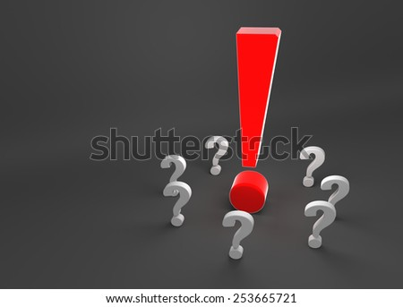 red exclamation mark surrounded by question marks - stock photo