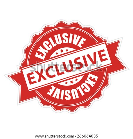 Red Exclusive Ribbon, Badge, Label, Sticker, Banner, Sign or Icon Isolated on White Background - stock photo